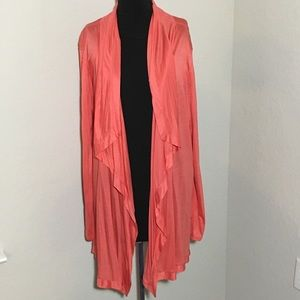 NWT Ann Taylor Open Front Waterfall Cardigan Coral